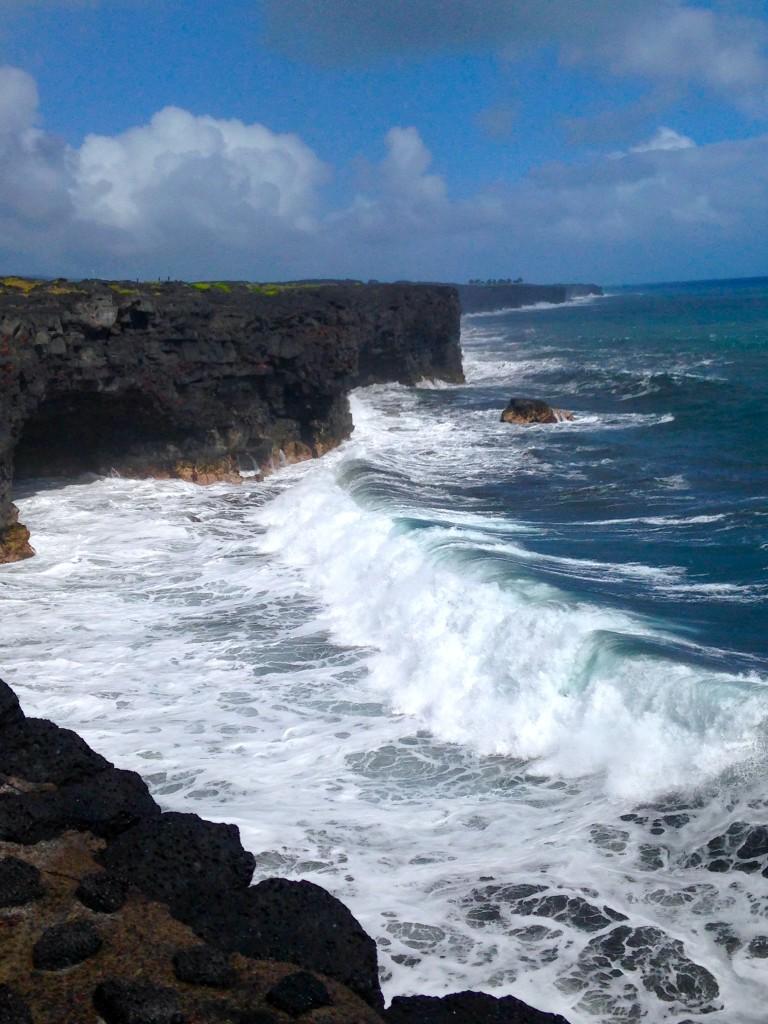 Lava formed cliffs at Holei